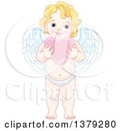 Clipart Of A Blond Caucasian Baby Cupid Holding A Pink Valentine Love Heart Royalty Free Vector Illustration by Pushkin