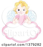 Clipart Of A Blond Caucasian Baby Cupid Holding A Pink Valentine Love Heart Over A Frame Royalty Free Vector Illustration by Pushkin
