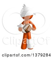 Clipart Of An Injured Orange Man Holding A Football Royalty Free Illustration