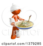 Clipart Of An Injured Orange Man With A Bowl Of Noodles Royalty Free Illustration