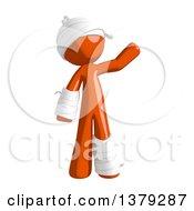 Clipart Of An Injured Orange Man Waving Royalty Free Illustration