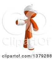 Clipart Of An Injured Orange Man Presenting Royalty Free Illustration
