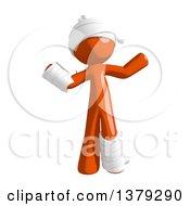 Clipart Of An Injured Orange Man Shrugging Royalty Free Illustration