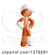 Clipart Of An Injured Orange Man Standing With Hands On His Hips Royalty Free Illustration