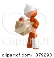 Clipart Of An Injured Orange Man Holding A Box Royalty Free Illustration