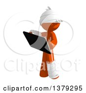 Clipart Of An Injured Orange Man Holding A Tablet Computer Royalty Free Illustration