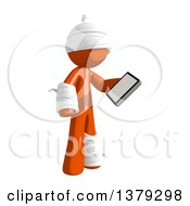 Clipart Of An Injured Orange Man Holding A Smart Phone Royalty Free Illustration