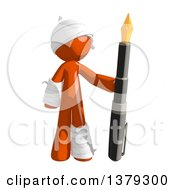 Clipart Of An Injured Orange Man Holding A Fountain Pen Royalty Free Illustration