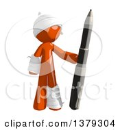 Clipart Of An Injured Orange Man Holding A Pen Royalty Free Illustration