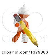 Clipart Of An Injured Orange Man Holding A Pencil Royalty Free Illustration