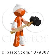 Clipart Of An Injured Orange Man Holding A Sledgehammer Royalty Free Illustration