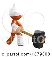 Clipart Of An Injured Orange Man Swinging A Sledgehammer Royalty Free Illustration