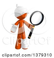 Clipart Of An Injured Orange Man Searching With A Magnifying Glass Royalty Free Illustration