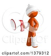 Clipart Of An Injured Orange Man Using A Megaphone Royalty Free Illustration by Leo Blanchette