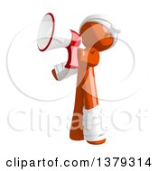 Clipart Of An Injured Orange Man Using A Megaphone Royalty Free Illustration