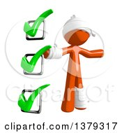 Clipart Of An Injured Orange Man With A Check List Royalty Free Illustration