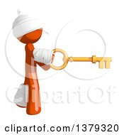 Clipart Of An Injured Orange Man Holding A Key Royalty Free Illustration