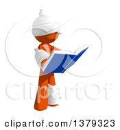Clipart Of An Injured Orange Man Reading A Book Royalty Free Illustration