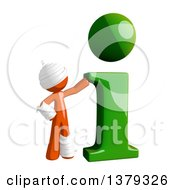 Clipart Of An Injured Orange Man With An I Information Icon Royalty Free Illustration