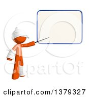 Clipart Of An Injured Orange Man Presenting A White Board Royalty Free Illustration