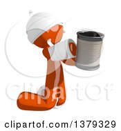 Clipart Of An Injured Orange Man Begging With A Can Royalty Free Illustration