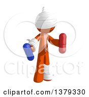 Clipart Of An Injured Orange Man Holding Pills Royalty Free Illustration