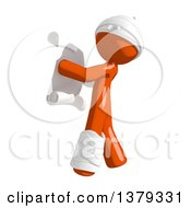 Clipart Of An Injured Orange Man Reading A Scroll Royalty Free Illustration