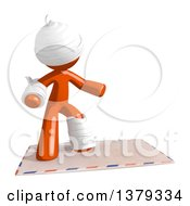 Clipart Of An Injured Orange Man Surfing On An Envelope Royalty Free Illustration by Leo Blanchette