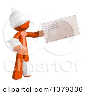 Clipart Of An Injured Orange Man Holding An Envelope Royalty Free Illustration by Leo Blanchette
