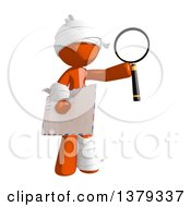 Clipart Of An Injured Orange Man Holding An Envelope And Magnifying Glass Royalty Free Illustration by Leo Blanchette