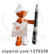 Clipart Of An Injured Orange Man Holding An Envelope And Pen Royalty Free Illustration by Leo Blanchette