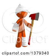 Clipart Of An Injured Orange Man Holding An Axe Royalty Free Illustration by Leo Blanchette