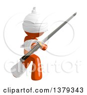 Clipart Of An Injured Orange Man Holding A Katana Sword Royalty Free Illustration by Leo Blanchette