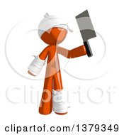 Clipart Of An Injured Orange Man Holding A Cleaver Knife Royalty Free Illustration