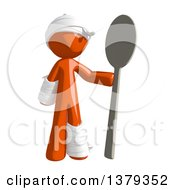 Clipart Of An Injured Orange Man Holding A Spoon Royalty Free Illustration by Leo Blanchette