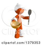 Clipart Of An Injured Orange Man Holding A Bowl And Spoon Royalty Free Illustration