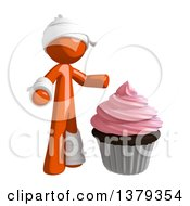 Clipart Of An Injured Orange Man With A Cupcake Royalty Free Illustration by Leo Blanchette