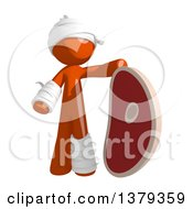 Clipart Of An Injured Orange Man With A Beef Steak Royalty Free Illustration by Leo Blanchette