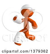 Clipart Of An Injured Orange Man Running Royalty Free Illustration by Leo Blanchette