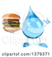 Clipart Of A 3d Water Drop Character On A White Background Royalty Free Illustration
