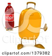 Clipart Of A 3d Yellow Suitcase Character On A White Background Royalty Free Illustration