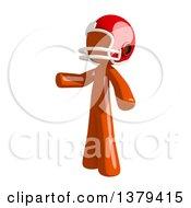 Orange Man Football Player Presenting