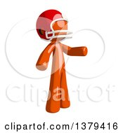 Clipart Of An Orange Man Football Player Presenting Royalty Free Illustration