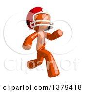 Clipart Of An Orange Man Football Player Running Royalty Free Illustration