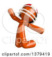 Clipart Of An Orange Man Football Player Jumping Royalty Free Illustration