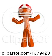 Clipart Of An Orange Man Football Player Shrugging Royalty Free Illustration
