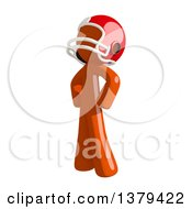 Clipart Of An Orange Man Football Player Standing With Hands On His Hips Royalty Free Illustration