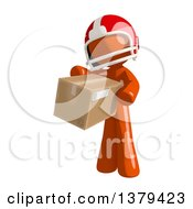 Clipart Of An Orange Man Football Player Holding A Box Royalty Free Illustration by Leo Blanchette