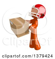 Clipart Of An Orange Man Football Player Holding A Box Royalty Free Illustration