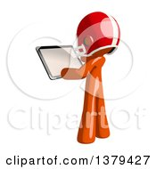 Clipart Of An Orange Man Football Player Holding A Tablet Computer Royalty Free Illustration